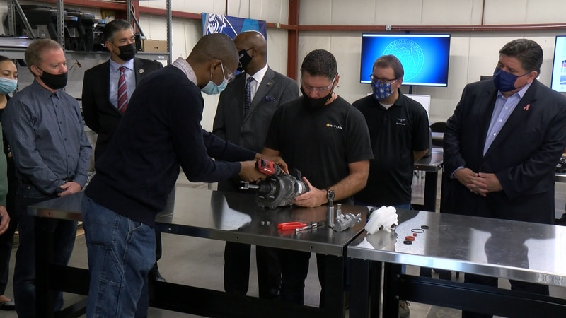 Autoworkers for the future: Pritzker tours electric vehicle manufacturing class in Bloomington