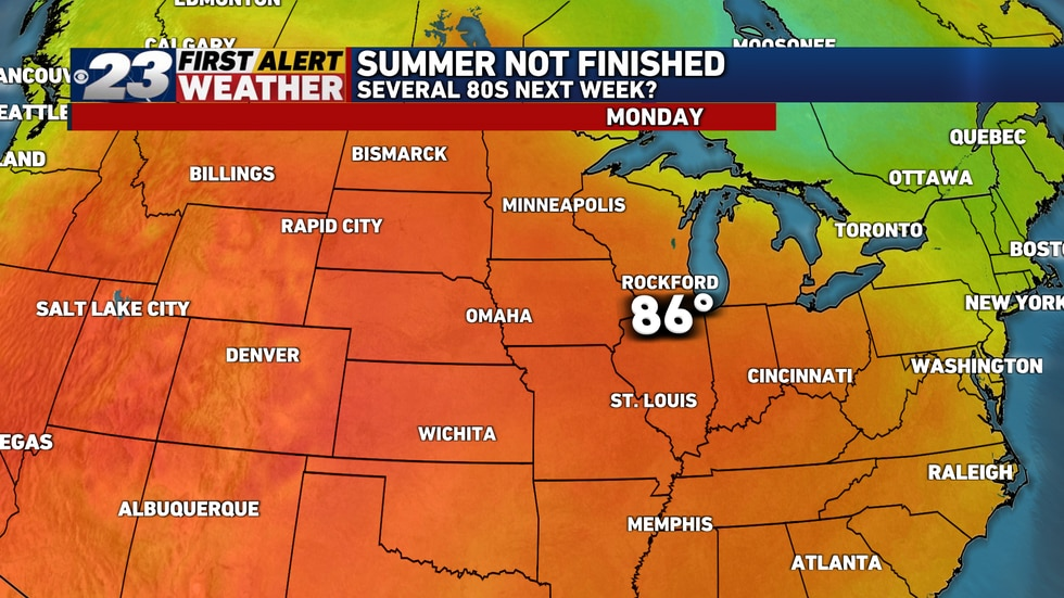 Several 80s remain ahead of us, including mid-80s next Monday and perhaps beyond.