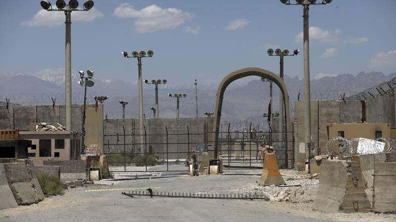 A gate is seen at the Bagram Air Base in Afghanistan, Friday, June 25, 2021.  In 2001 the...