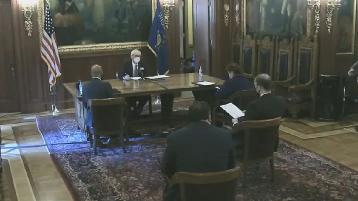 Wisconsin's 10 electors gather at the statehouse to vote for President of the United States of...