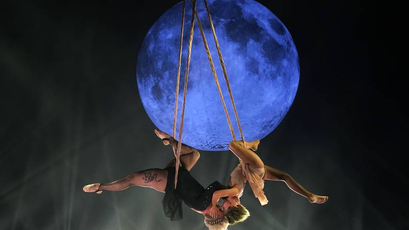 Icon award recipient Pink her daughter Willow perform together on a trapeze at the Billboard...