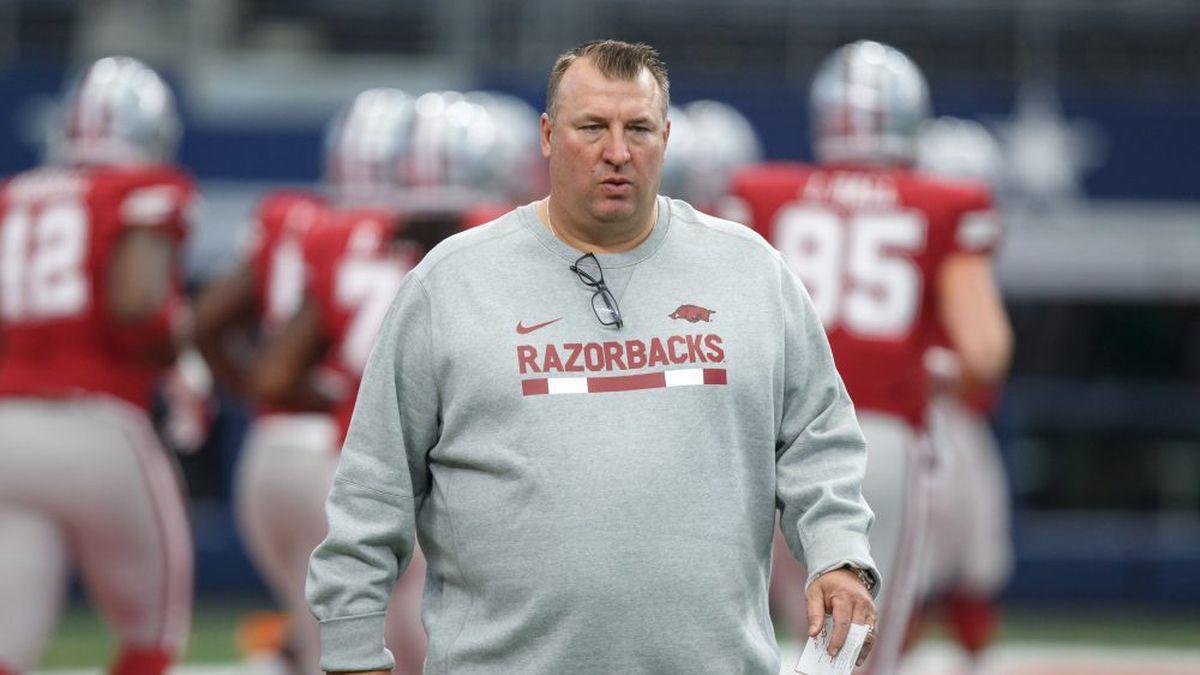 ARLINGTON, TX - SEPTEMBER 23: Arkansas Razorbacks head coach Brett Bielema watches his team's...