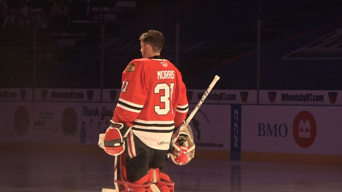 Cale Morris made 38 saves in just his second start with the IceHogs as Rockford beat Iowa 6-1.
