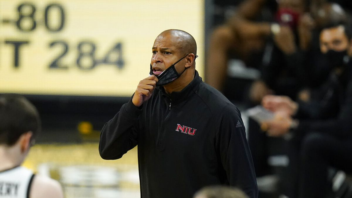 Northern Illinois head coach Mark Montgomery watches from the bench during the second half of...