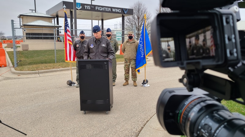 115th Air National Guard Commander Bart Van Roo delivers statement on death of pilot who...