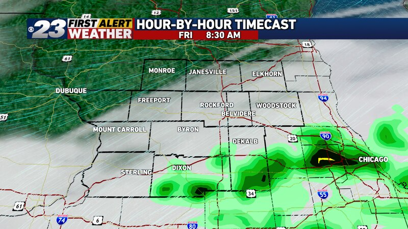 Friday will start mostly cloudy with a small rain chance, especially south of Rockford in the...