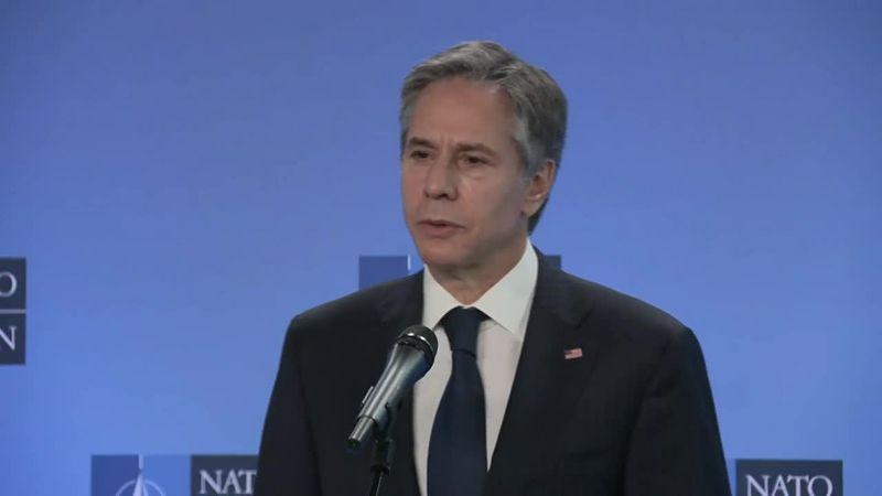 Secy Antony Blinken and NATO Secretary General Jens Stoltenberg make remarks in Brussels at the...