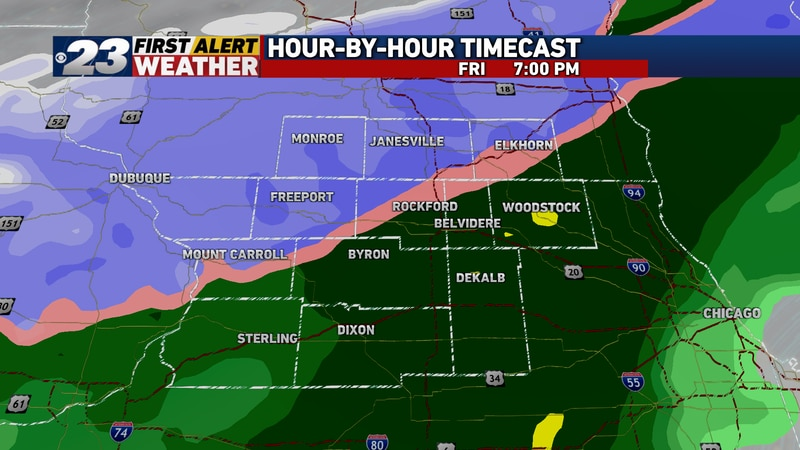 Rain will begin to mix with or change over to snow by early Friday evening.