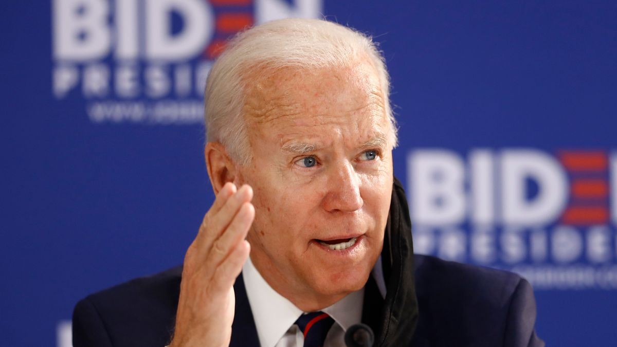 In this June 11, 2020, photo, Democratic presidential candidate former Vice President Joe Biden speaks during a roundtable on economic reopening with community members in Philadelphia.