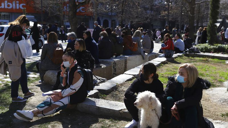 People gather at the main square after an earthquake in Larissa city, central Greece,...