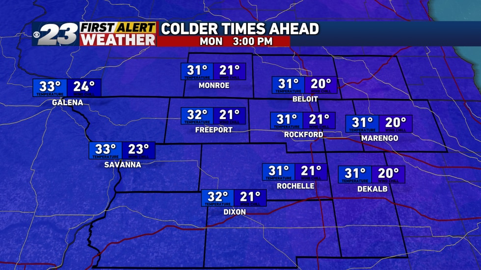 For the first time in nearly two weeks, the Stateline's to experience below normal temperatures...