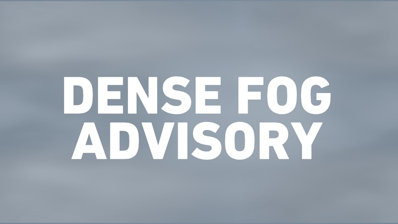 A Dense Fog Advisory has been hoisted for the entire area through Noon Monday.