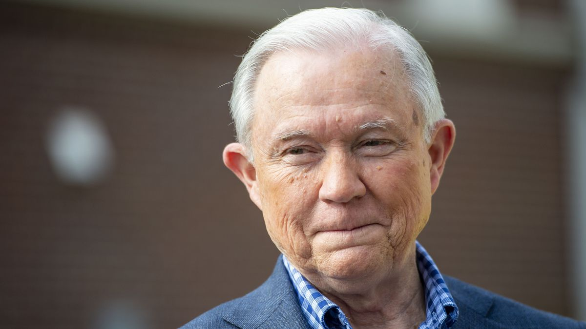 In this March 3, 2020 file photo, Jeff Sessions talks with the media after voting in Alabama's primary election in Mobile, Ala.