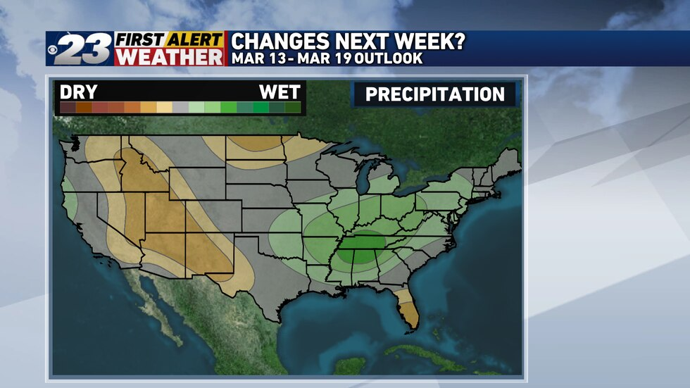 A more active pattern is slightly favored towards the end of March.