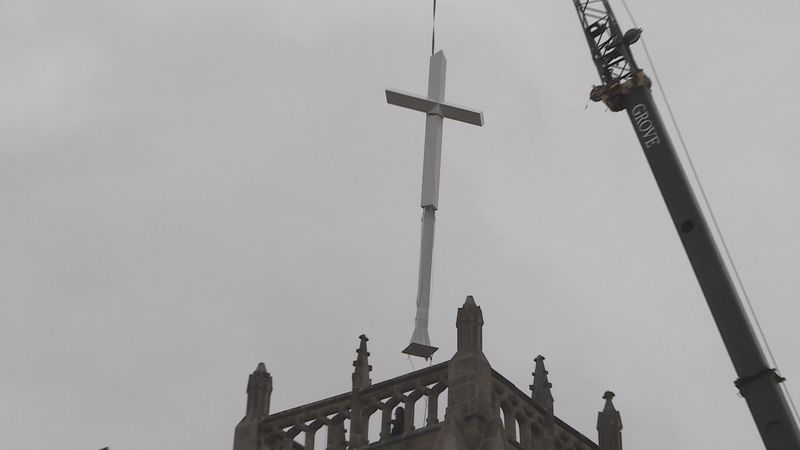 The 26' tall cross was place on top of the bell tower at Bethesda Covenant Church in Rockford...
