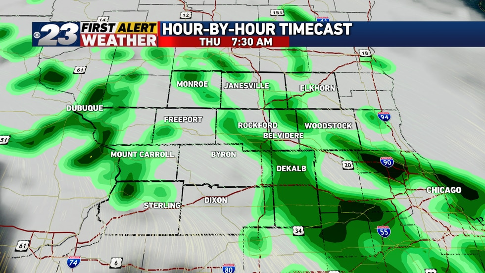 A few light, scattered showers may greet us Thursday.