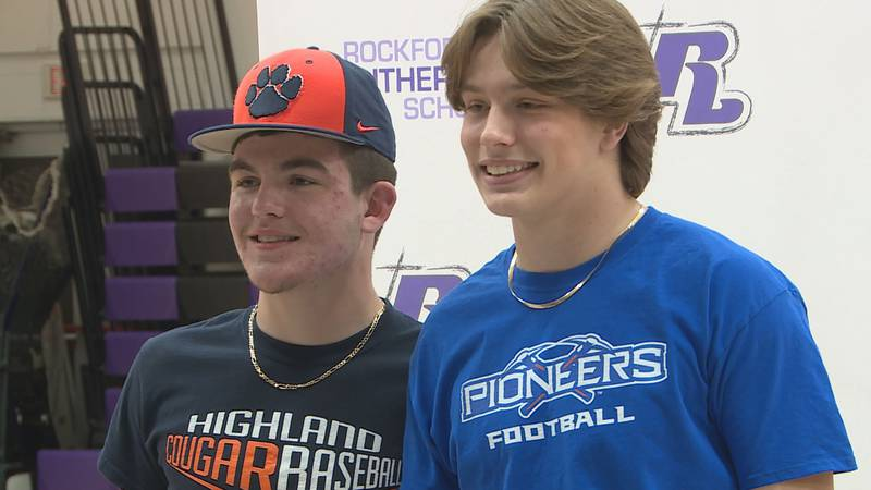 Lutheran seniors Tag Habedank and Evan Weavel made their college commitments official on Friday.