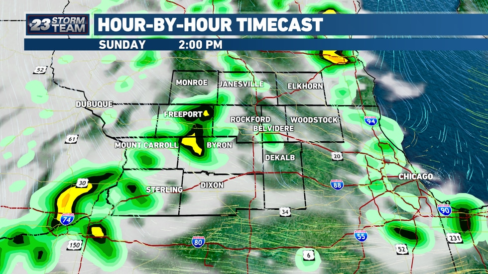 Scattered showers and storms will begin in the afternoon throughout the Stateline.