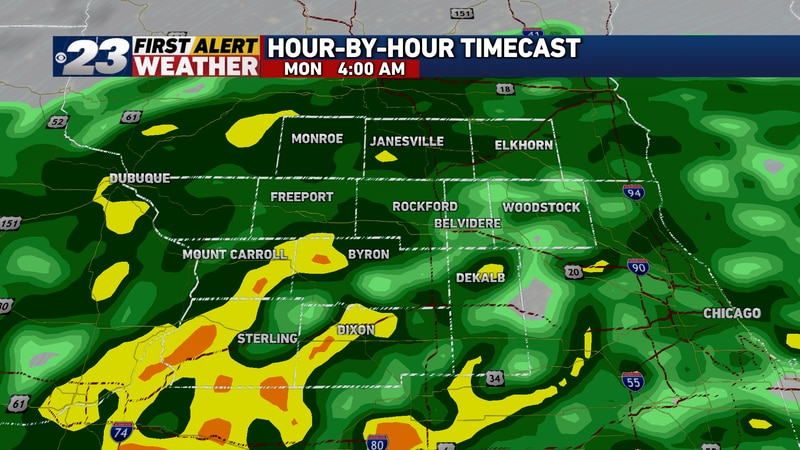 Rain will continue for most of the remainder of the night into early Monday morning.