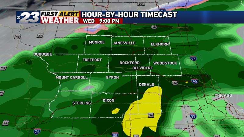 Steady rain, including a few downpours, will continue through the evening.