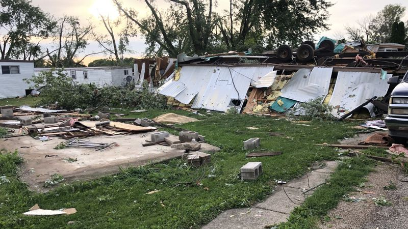 Damage to homes in Forreston, IL
