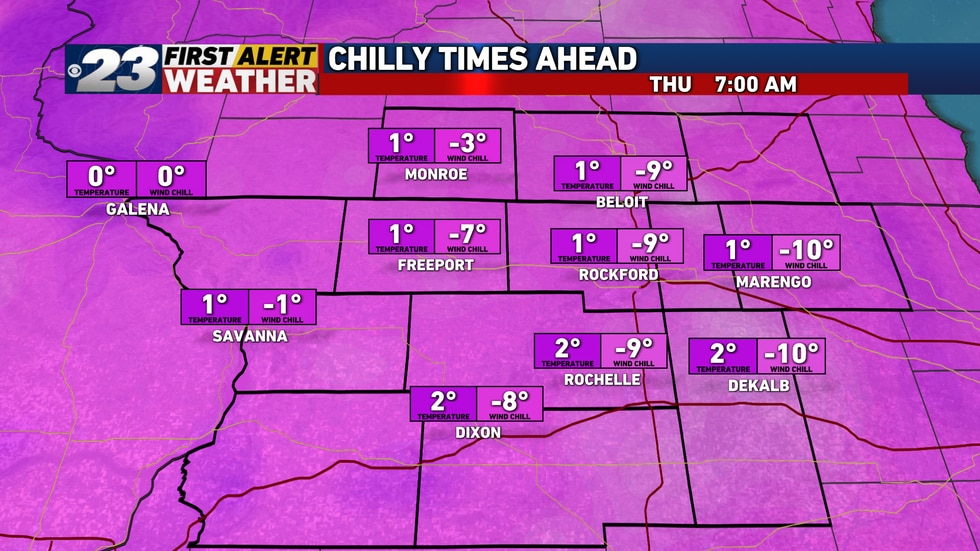 An even colder start to Thursday is on the docket.