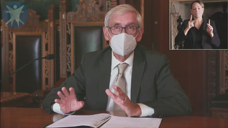 Gov. Tony Evers while announcing the statewide mask mandate.