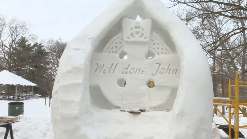 "One team, Quatschmen, pay tribute with their ""Well done, John"" sculpture, highlighting John..."