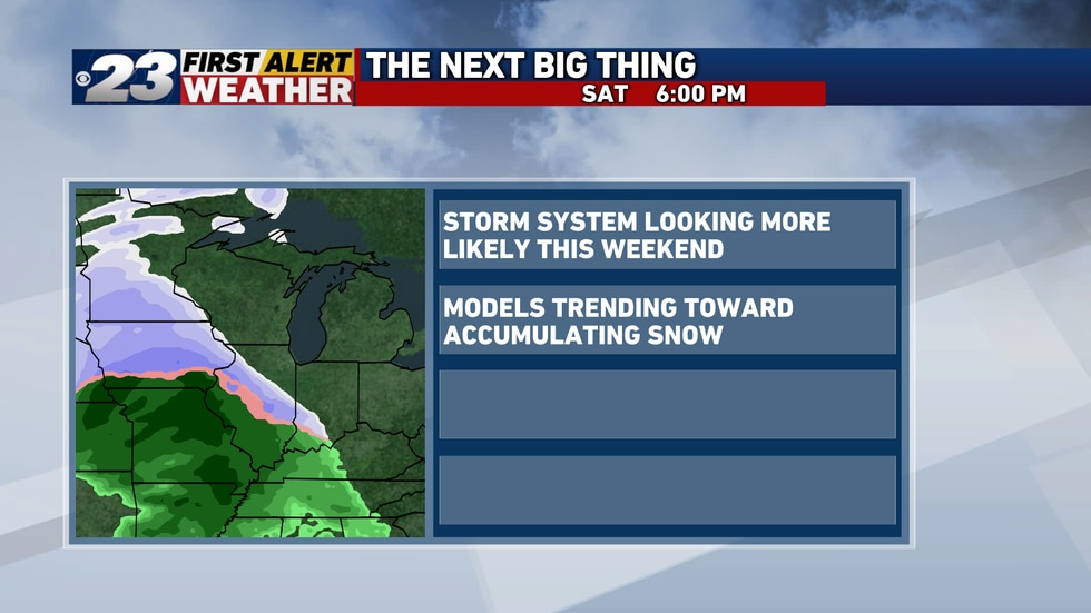 A storm system is looking increasingly more likely as the weekend approaches.