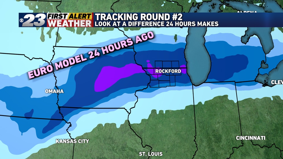 The run of the European Forecast Model 24 hours ago shows Rockford on the bulls eye for the...