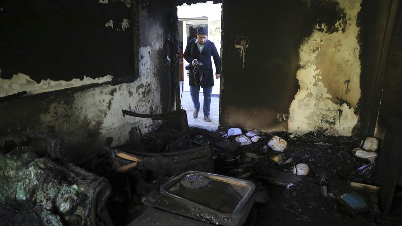 A burned office at Kabul University is seen after a deadly attack in Kabul, Afghanistan,...