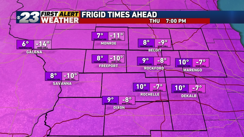 We're back into the single digits already by 7:00pm Christmas Eve, with chills nearing -10°.