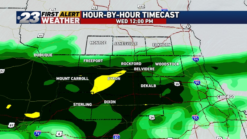 After a generally dry morning, rain will once again overspread the region as we near midday.
