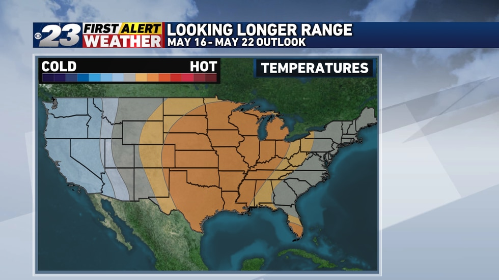 Above normal temperatures are slightly favored towards the middle-to-end of May.
