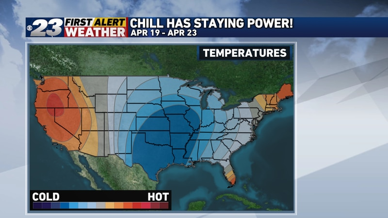 High probabilities of below to well below normal temperatures are expected over the next ten...
