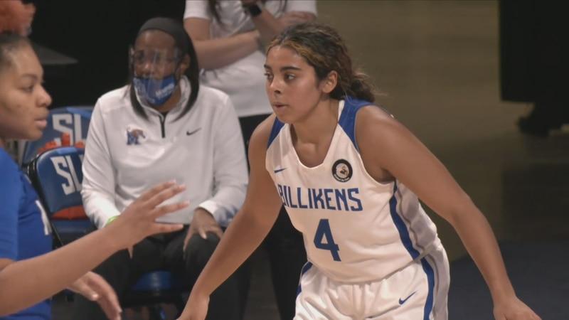 Peyton Kennedy playing defense for Saint Louis University against Memphis on December 4.