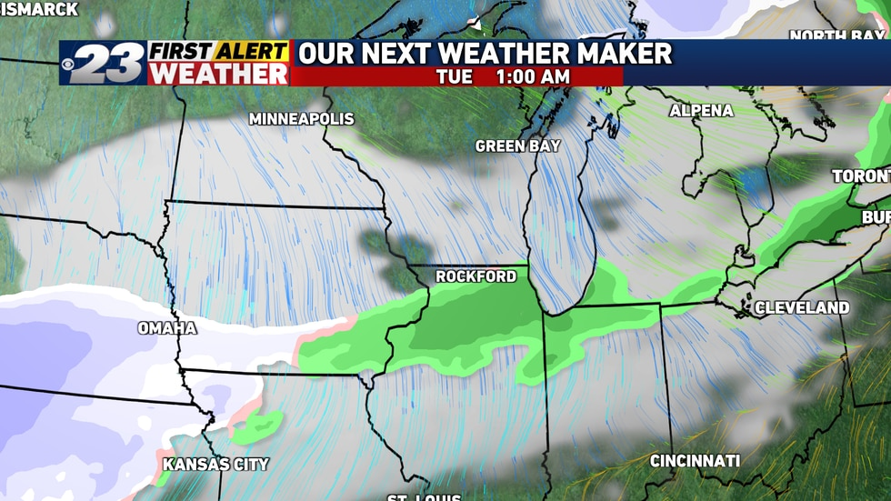 It's looking likely the rain late Monday and into early Tuesday will turn to snow.