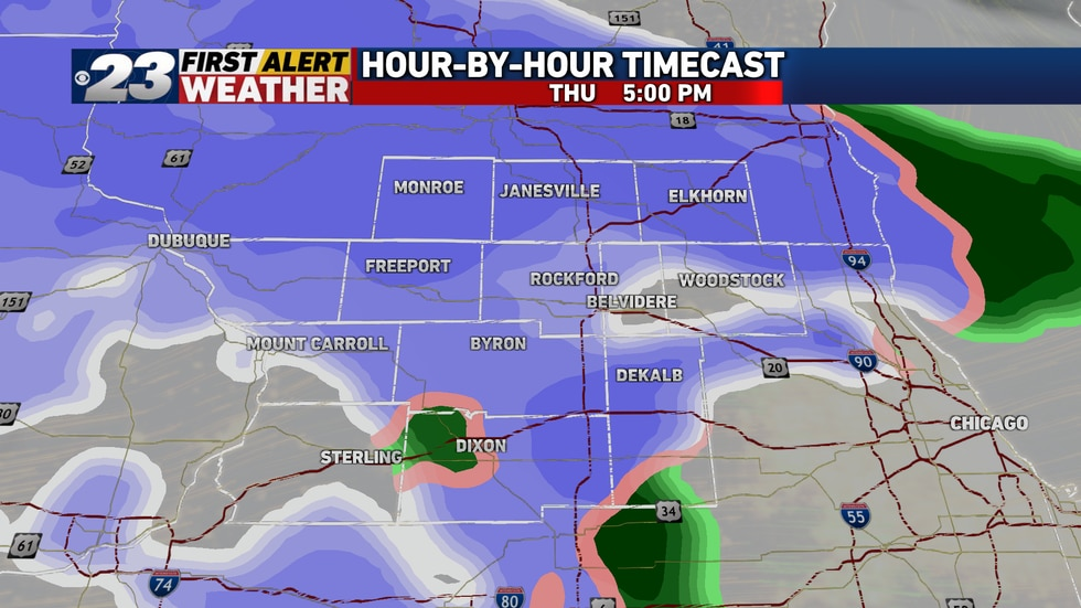 Snow's to be the form of precipitations over most of the area by early evening, though perhaps...