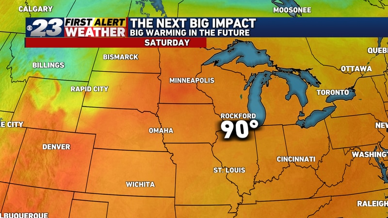 We've bumped up the arrival of 90° temperatures by a day, and have kept 90s in the forecast...