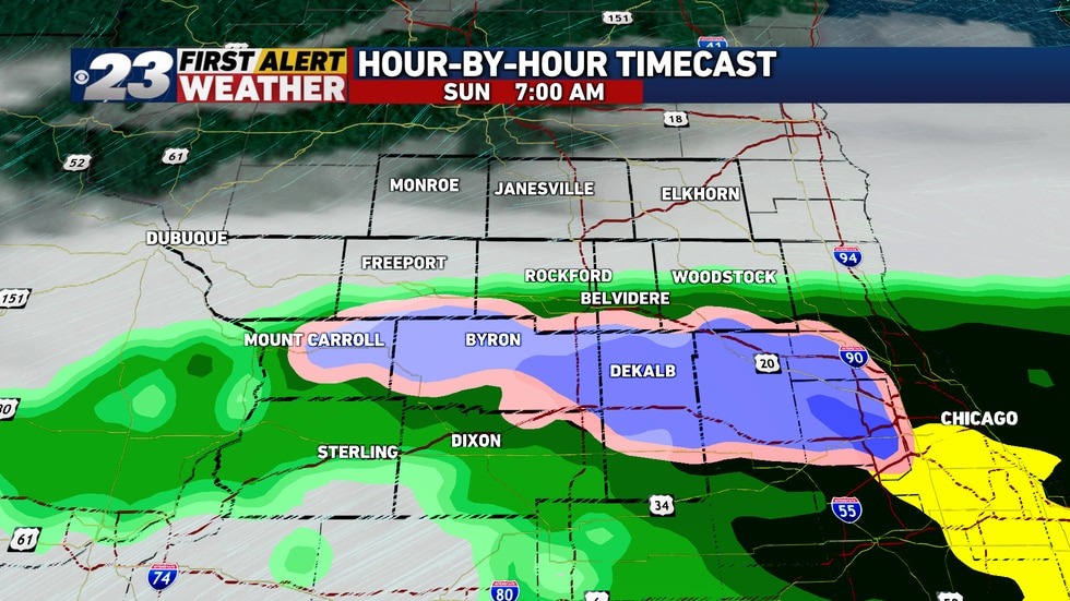 A few snowflakes are likely to mix in through early Sunday morning.