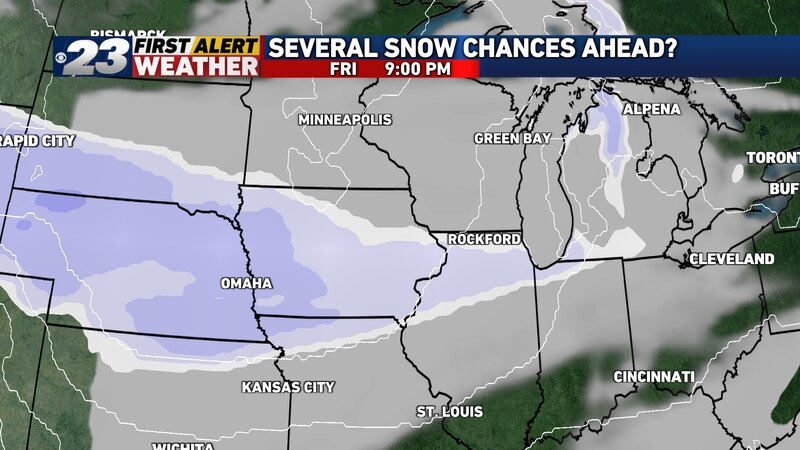 While most of the day will be dry Friday, we'll expect snow to return by Friday night.
