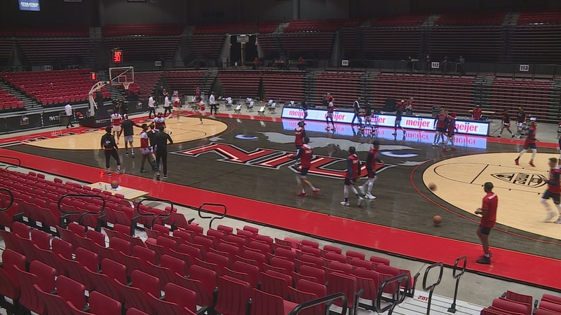 NIU basketball warms up for meeting with UIC on Wednesday night at the Convocation Center.