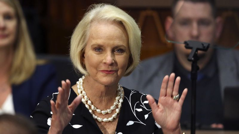 FILE - In this Jan. 13, 2020 file photo, Cindy McCain waves to the crowd after being...