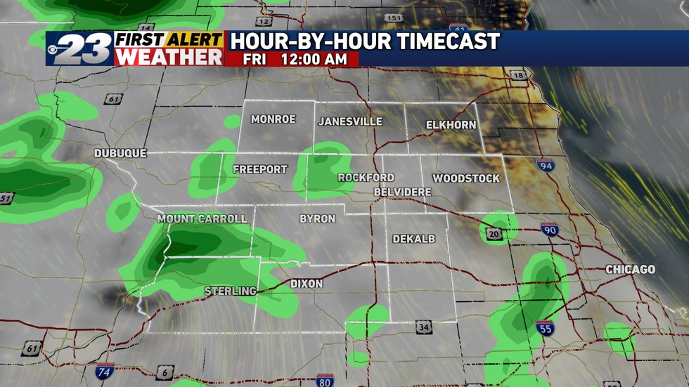 Rain will taper off to sprinkles or light rain showers late Thursday evening.