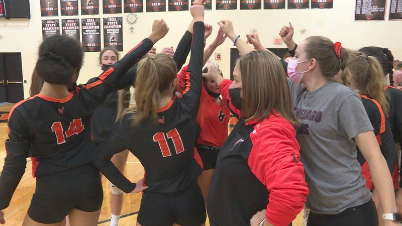 Winnebago defeats rival Byron in three sets in the Class 2A Regional semifinals at Byron.