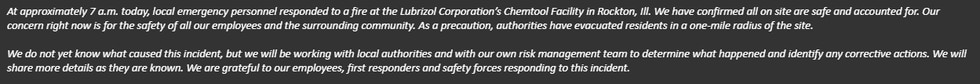 Statement in response to the event at our Chemtool site in Rockton, Illinois.