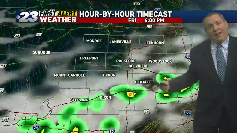 A cold front may trigger a few showers and thunderstorms late Friday or Friday evening.