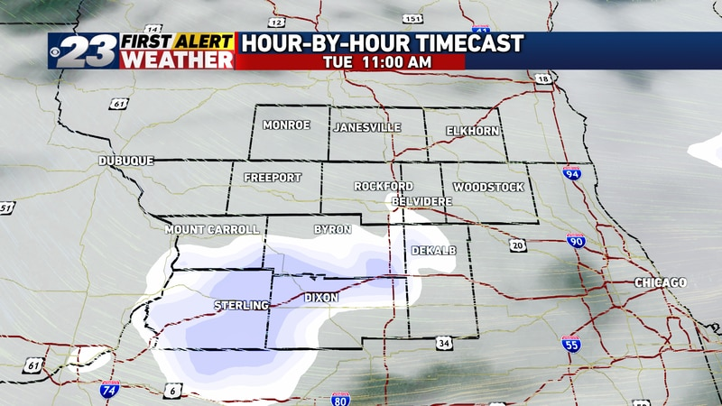 The first disturbance may send some fast-moving snow showers our way late in the morning toward...