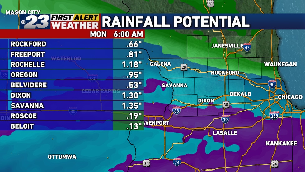 The heavier rainfall potential will be south of Rockford. Most of us will end up with half an...