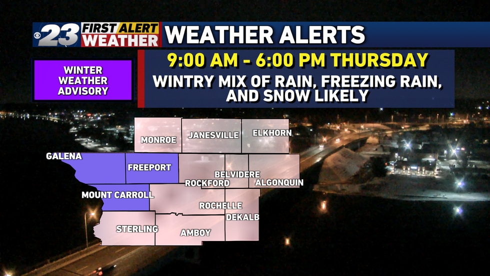 A Winter Weather Advisory is in effect for Jo Daviess, Stephenson, and Carroll Counties for...